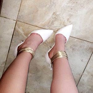 Shoes - Size 7 1/2 white heels with gold angle cuff